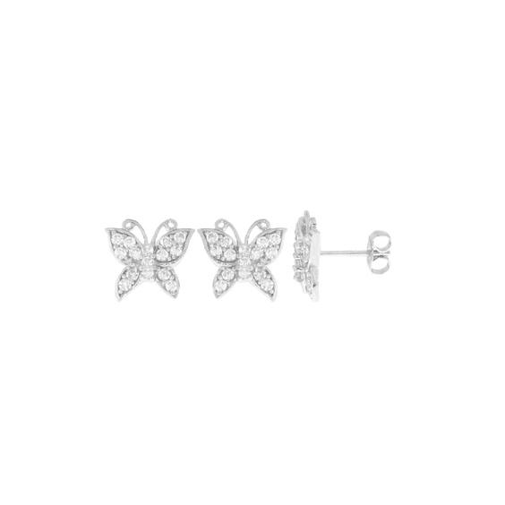 Boucles d'oreilles papillon zirconium argent