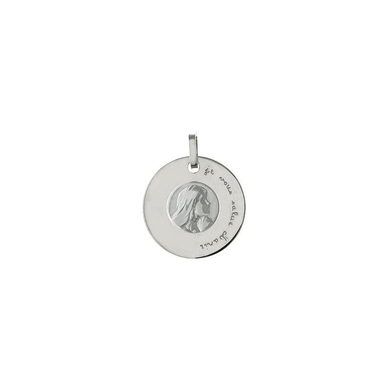 """Médaille Marie """"je vous salue Marie"""" argent"""