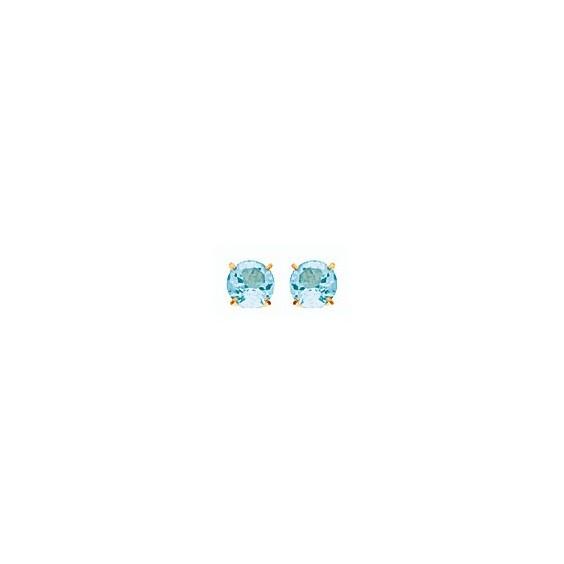 Boucles d'oreilles topaze bleue Or 18 carats jaune - 4 mm - La Petite Française