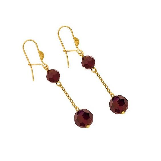 Boucles d'oreilles pendantes grenats Or 18 carats - La Petite Française