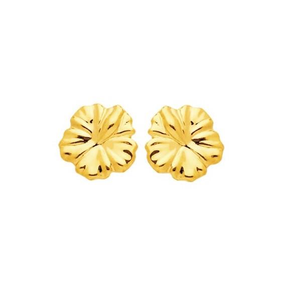 Boucles d'oreilles fleur hibiscus Or 18 carats - 5 MM - La Petite Française