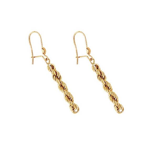 Boucles d'oreilles pendantes corde Or 18 carats - La Petite Française