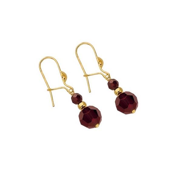 Boucles d'oreilles pendantes grenats et boule Or 18 carats - La Petite Française