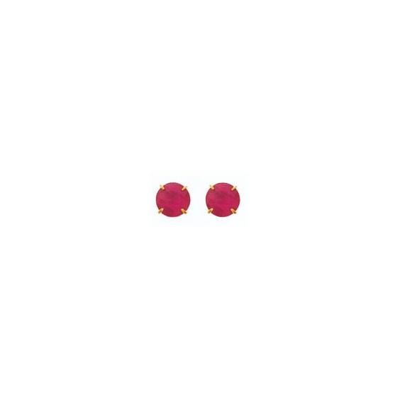 Boucles d'oreilles rubis Or 18 carats jaune - 4 mm - La Petite Française