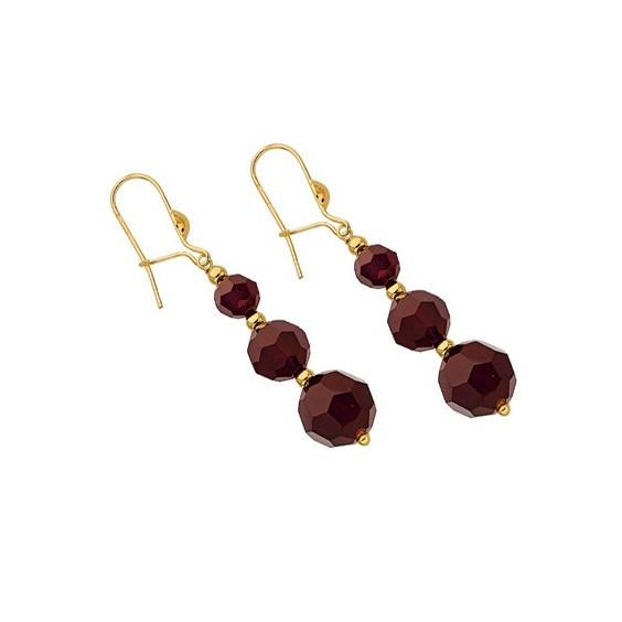 Boucles d'oreilles pendantes grenats et boules Or 18 carats - La Petite Française