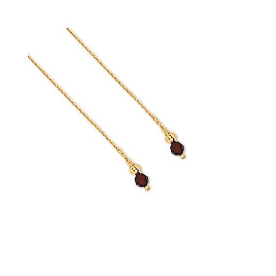 Boucles d'oreilles chainette grenat Or 18 carats - La Petite Française