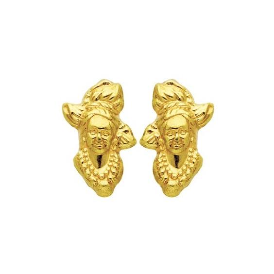 Boucles d'oreilles tête Antillaise Or 18 carats - 6 MM-vis - La Petite Française