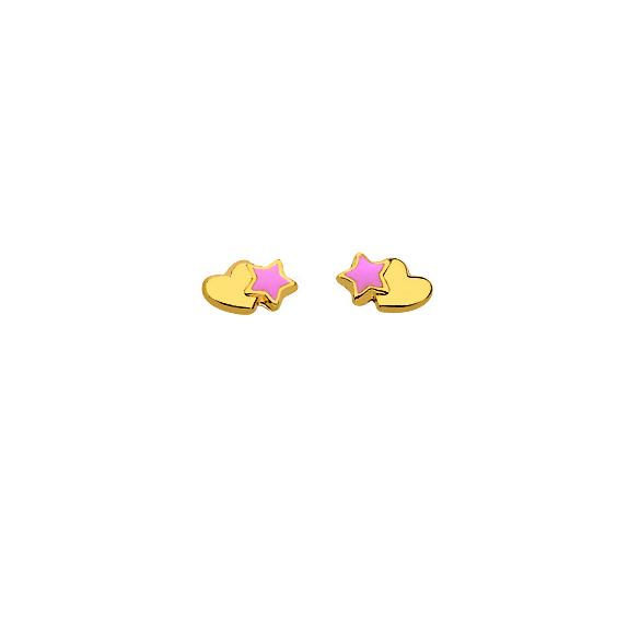 Boucles d'oreilles coeur et étoile Or 18 carats - La Petite Française