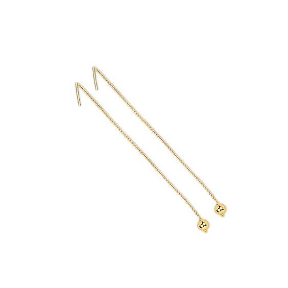 Boucles d'oreilles chainette boule Or 18 carats - 5 MM - La Petite Française