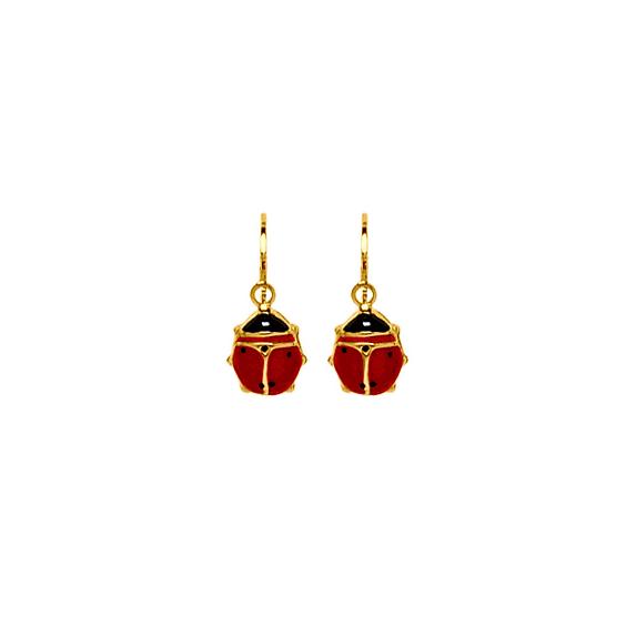 Boucles d'oreilles coccinelles pendantes Or 18 carats - La Petite Française