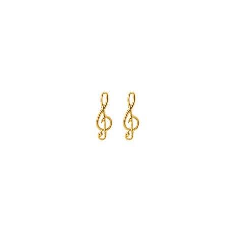 Boucles d'oreilles clef de sol Or 18 carats jaune - La Petite Française