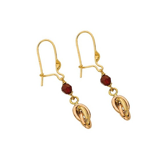 Boucles d'oreilles pendantes noeud Antillais et grenat 18 carats - La Petite Française
