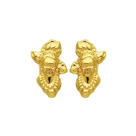 Boucles d'oreilles tête Antillaise Or 18 carats - 6 MM - La Petite Française