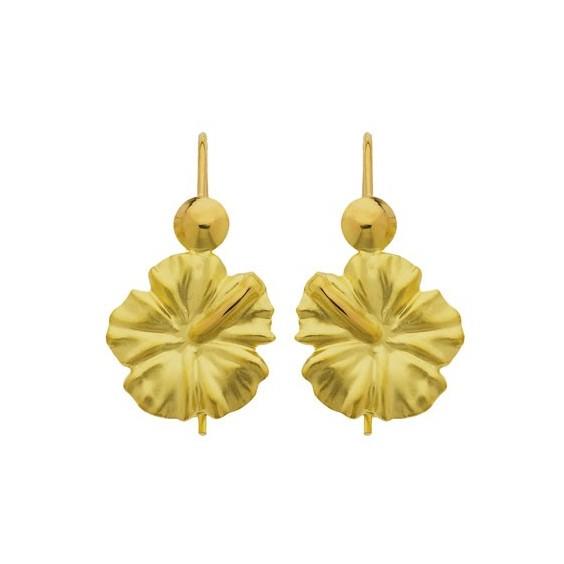 Boucles d'oreilles pendantes fleur hibiscus Or 18 carats - 12 MM - La Petite Française