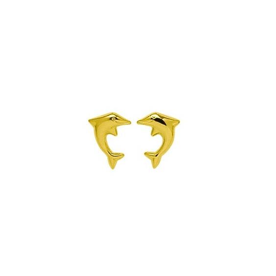 Boucles d'oreilles dauphins Or 18 carats jaune - La Petite Française