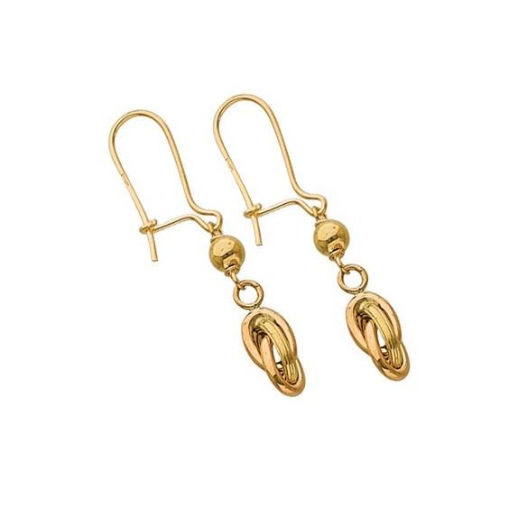 Boucles d'oreilles pendantes noeud Antillais Or 18 carats - La Petite Française