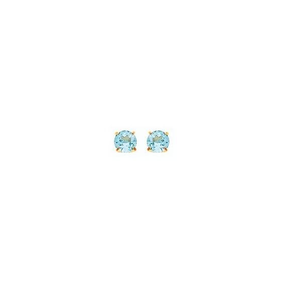 Boucles d'oreilles topaze bleue Or 18 carats jaune  - 3.5 mm - La Petite Française