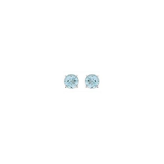 Boucles d'oreilles topaze bleue Or 18 carats gris - 4 mm - La Petite Française