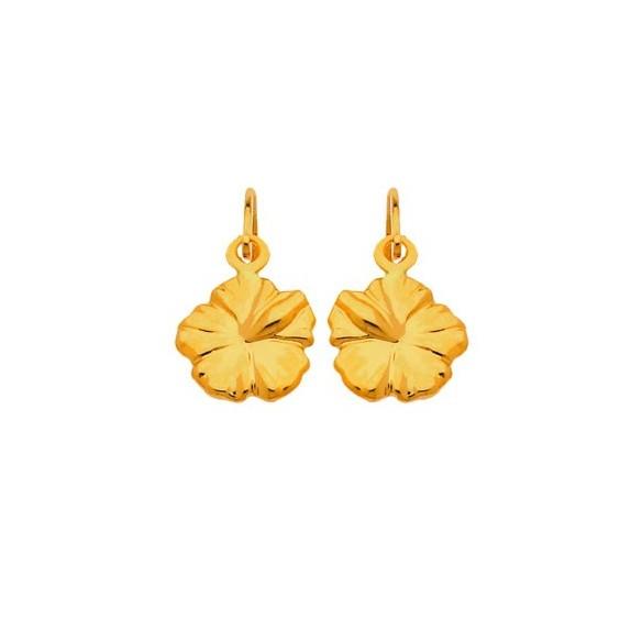 Boucles d'oreilles brisures fleur hibiscus Or 18 carats - 6 MM - La Petite Française