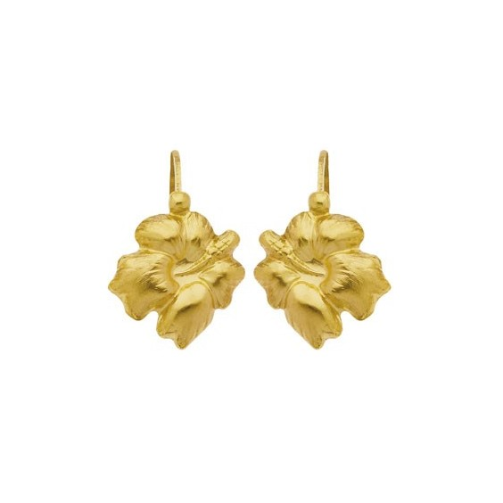 Boucles d'oreilles brisures fleur hibiscus Or 18 carats - 10 MM - La Petite Française