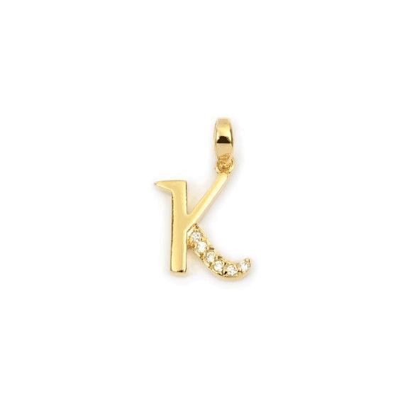 Pendentif lettre K plaqué or et zirconiums  - La Petite Française