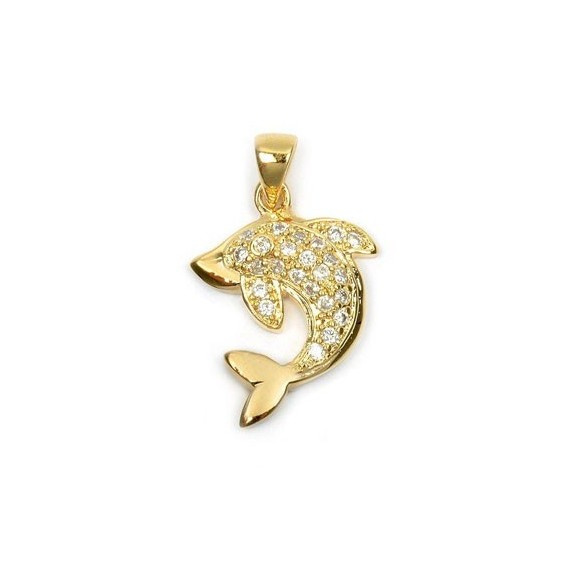 Pendentif dauphin strass plaqué or