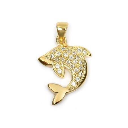 Pendentif dauphin strass plaqué or - La Petite Française