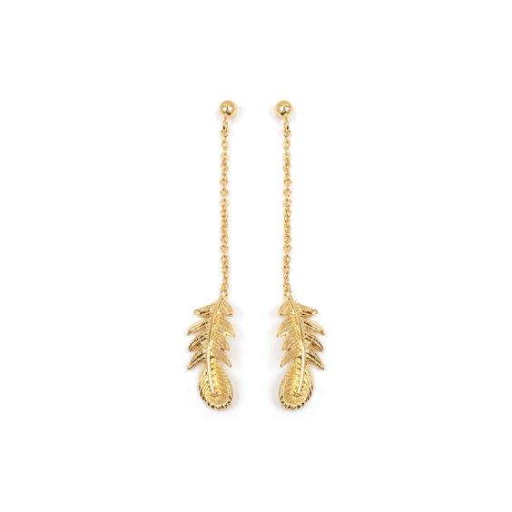Boucles d'oreilles pendantes plumes plaqué or - La Petite Française