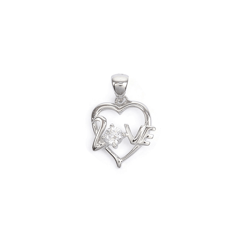 Pendentif coeur Love argent et zirconium - La Petite Française