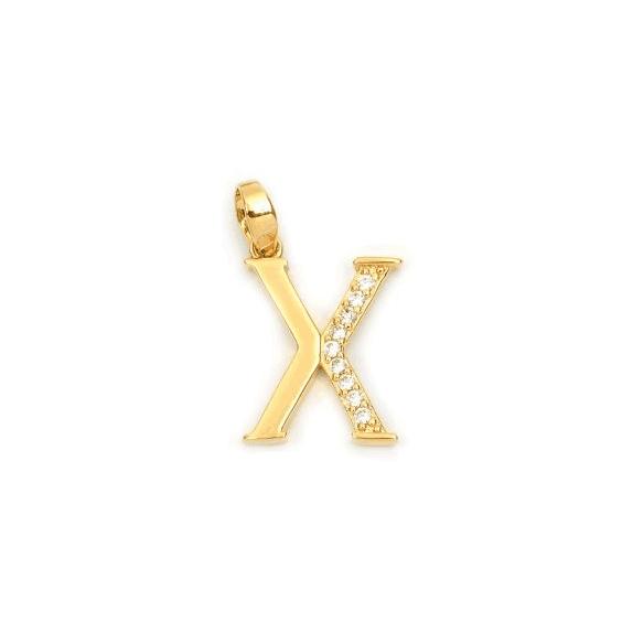 Pendentif lettre X plaqué or et zirconiums  - La Petite Française