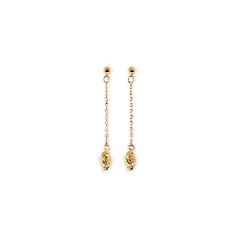 Boucles d'oreilles pendantes forçat plaqué or - La Petite Française