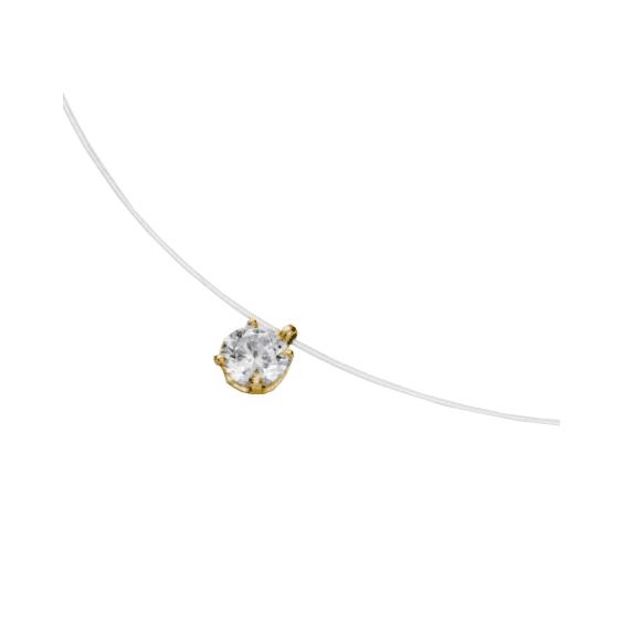 Collier fil nylon diamant 0.20 ct GSI1 et Or 18 carats jaune - La Petite Française