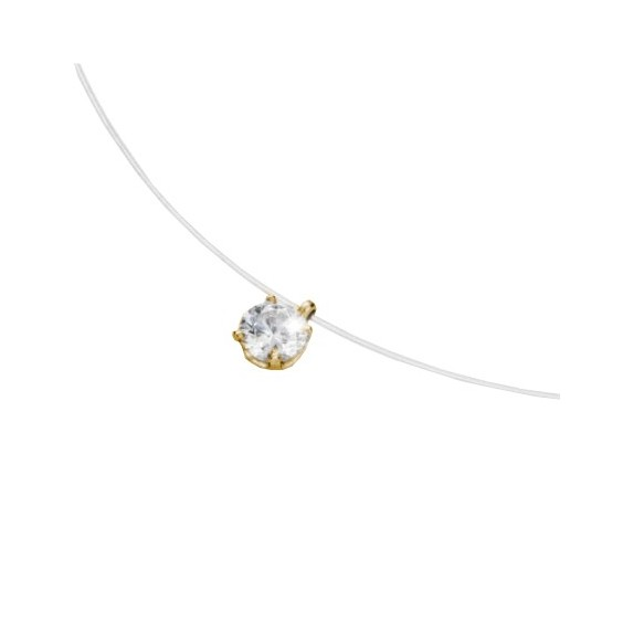 Collier fil nylon diamant 0.10 ct GSI1 et Or 18 carats jaune - La Petite Française