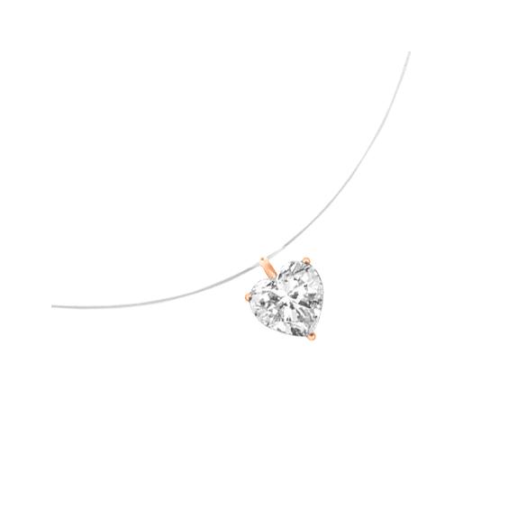 Collier fil nylon diamant coeur 0.25 ct GSI1 et Or 18 carats rose - La Petite Française