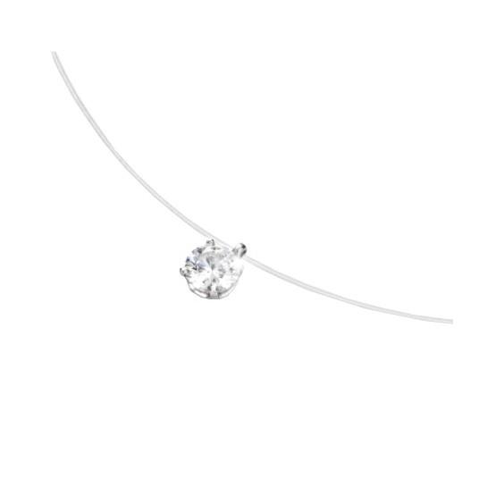 Collier fil nylon diamant 0.10 ct GSI1 et Or 18 carats gris - La Petite Française