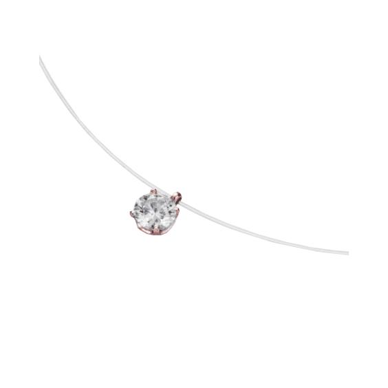 Collier fil nylon diamant 0.10 ct GSI1 et Or 18 carats rose - La Petite Française