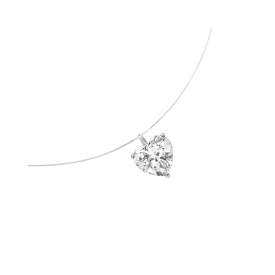 Collier fil nylon diamant coeur 0.25 ct GSI1 et Or 18 carats gris - La Petite Française