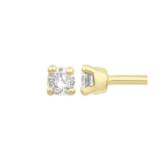 Boucles d'oreilles diamants,0.15 carat GSI1 4 griffes - Or 18 carats jaune - La Petite Française