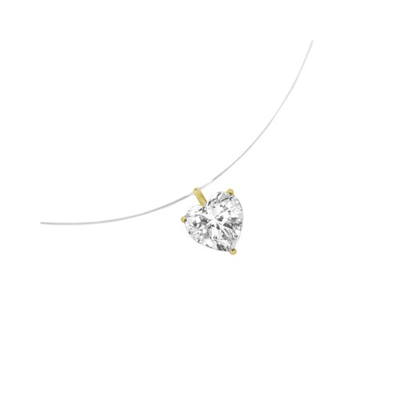Collier fil nylon diamant coeur 0.25 ct GSI1 et Or 18 carats jaune - La Petite Française