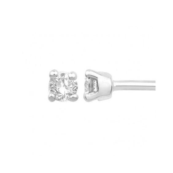 Boucles d'oreilles diamants, 0.15 carat GSI1 4 griffes - Or 18 carats gris - La Petite Française