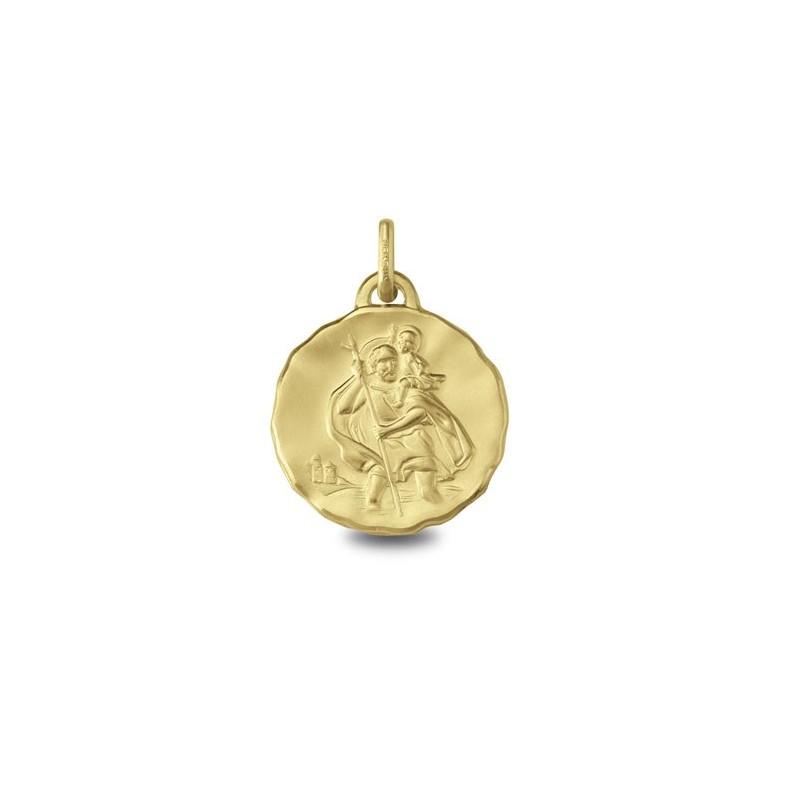 Médaille Saint-Christophe ronde en Or 9 carats jaune - La Petite Française