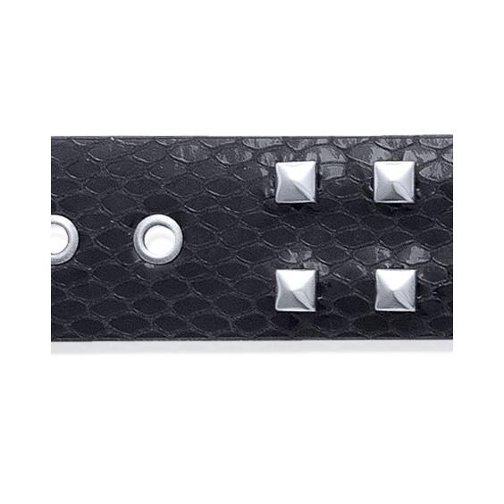 Bracelet de force clous cuir noir et acier - La Petite Française