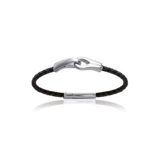 Bracelet en cuir noir tressé et acier toi et moi - La Petite Française
