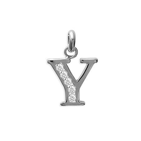 Pendentif lettre Y et zirconiumss argent - La Petite Française