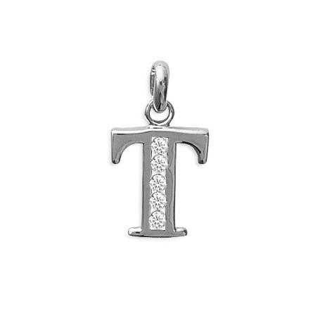 Pendentif lettre T et zirconiumss argent - La Petite Française