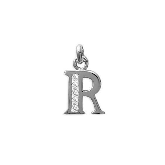 Pendentif lettre R et zirconiumss argent - La Petite Française