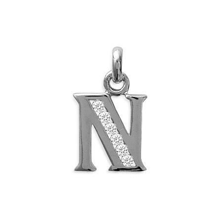 Pendentif lettre N et zirconiums argent - La Petite Française