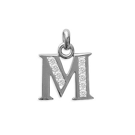 Pendentif lettre M et zirconiums argent - La Petite Française