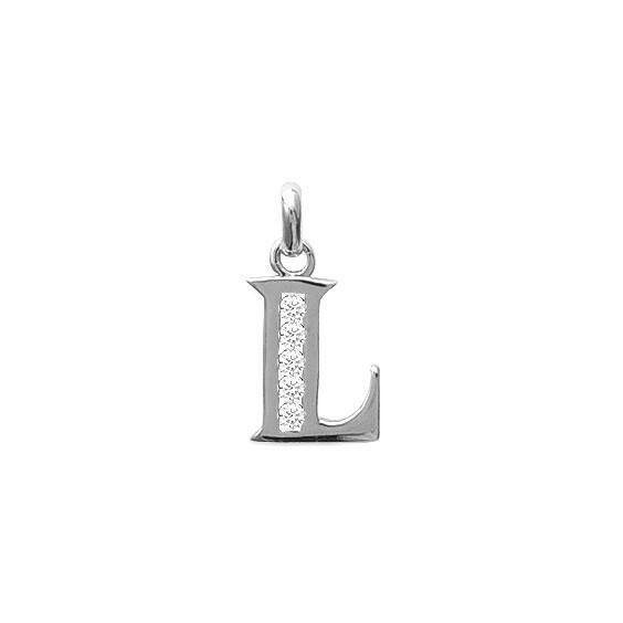 Pendentif lettre L et zirconiums argent - La Petite Française