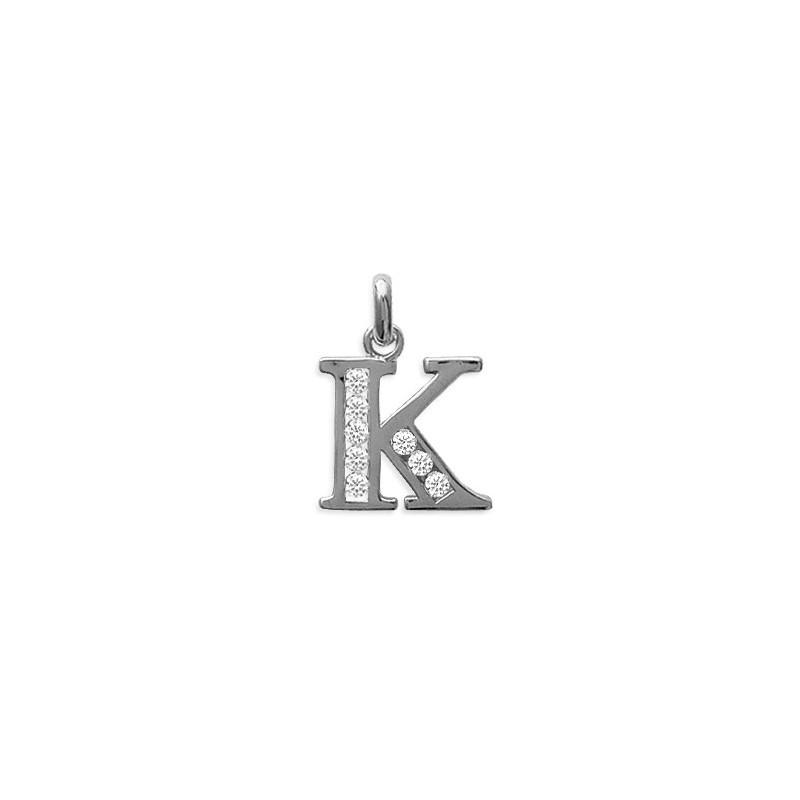 Pendentif lettre K et zirconiums argent - La Petite Française